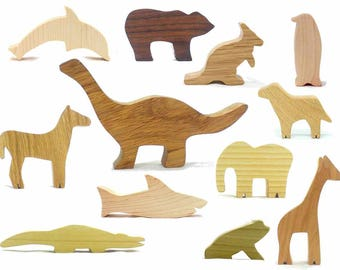 Essential Classic Wooden Animal Toys, Natural Wood Toys, Bear, Giraffe, Horse, Frog, Dinosaur, Shark, Kangaroo, Dolphin
