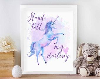 Stand Tall My Darling Unicorn Print, Pretty Unicorn Print, Unicorn Art Print, Unicorn Printable, Unicorn Room Decor, Unicorn Nursery