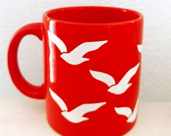 Vintage Waechtersbach Bird Mug Seagulls Red and White Ceramic Mug Made in West Germany
