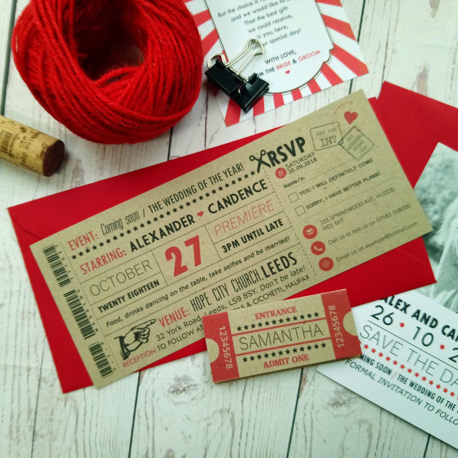 Movie Craft Ticket Wedding Invitation Vintage Retro Cinema