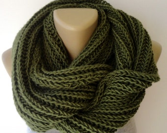 Green Scarf, İnfinity Scarf, Chunky Knit Scarf, Winter Scarf, Men Scarf, Circle Scarf, Knit Scarf /  Gifts For Her / Mother's Day Gifts