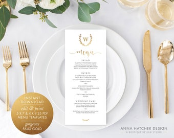 Gold Menu Card, Laurel Wreath Monogram, 5x7 & 4x9.25 Faux Gold Foil Menu Card Editable PDF Template, DIY printable wedding menu WED1BDAY