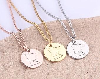 Tiny Minnesota Necklace, Minnesota Charm Disc Necklace, Silver USA State Jewelry, Long Distance Friendship