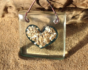 heart love token ,wedding  gift , silver heart window suncatcher fused glass from recycled glass, Eco gift , recycled gift , recycled art
