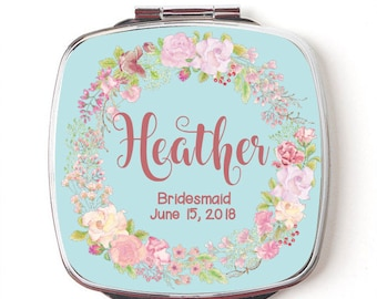 Custom Bridesmaids Gifts - Personalized Compact Mirror - Floral Wreath Wedding - Personalized Bridesmaids Gifts