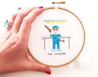 Completed cross stitch funny. Gift for Surgeon. Custom Cross Stitch portrait. Physician gift. Handmade art gift