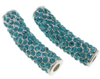1pc fashion tube rhinestone pave beads for jewelry making brass tube-7298a