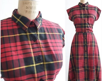 Vintage Red plaid Button Down dress, Everyday dress