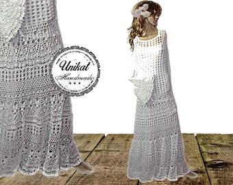 Hand crochet handmade unique stretch maxi dress trumpet Sleeve 42 44 46