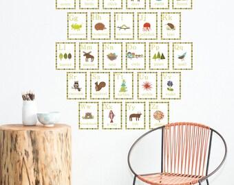 Alphabet Wall Cards, 5x7, Nature Themed Nursery Wall Art, Child wall art, Kid Wall Art, Alphabet wall card,Kid wall art, Alphabet Flash Card