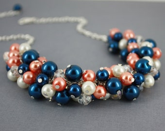 Coral and Navy Necklace Bridesmaid Jewelry Coral Bridesmaid Necklace Cluster Necklace Maid of Honor Coral Wedding