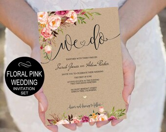 Pink Peonies We Do Wedding Invitation Template Set-Kraft Watercolor Floral Invite-DIY Printable Invitations-PDF-Download Instantly|VRD156KWY