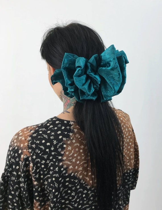90's Emerald Green Floral Giant Bow Clip - Statement French Clip Hair Barrette - Basic Hair Clip Handmade Hipster Grunge Hipster Bow Clip