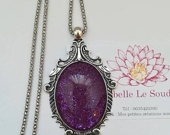 Painted glass cabochon necklace in the