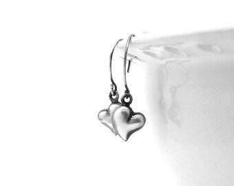 Heart Earrings, Small Heart Earrings, Heart Jewelry, Black Heart Earrings, Sterling Silver Jewelry, Sterling Silver Heart Earrings, Hearts