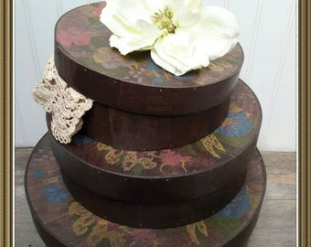 Hand Painted Walnut stained Hat Boxes Set of Three made in the Netherlands Beautiful haberdashery storage
