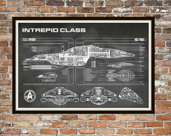 Star Trek Voyager Blueprint Art of Intrepid USS Voyager Class Technical Drawings Engineering Drawings Patent Blue Print Art Item 0100C