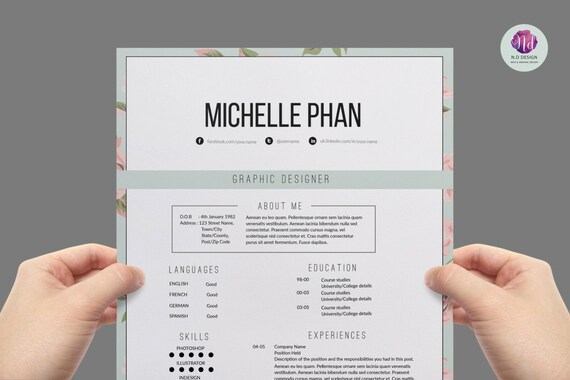Floral Elegant Resume Template Cover Letter Template