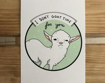 5x7 Sassy Goat Time Mini Art Print
