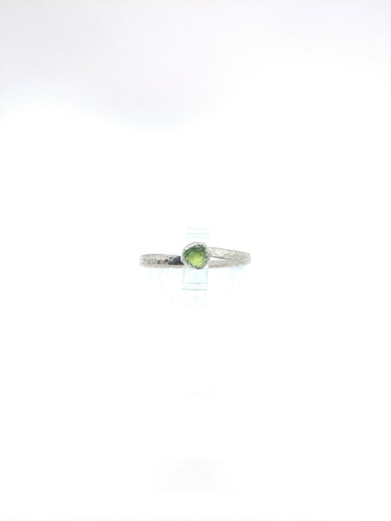 Natural Green Tourmaline Ring   Sterling Silver Ring Sz 9    Raw Green Tourmaline Ring   Raw Crystal Ring   Uncut Gemstone Ring