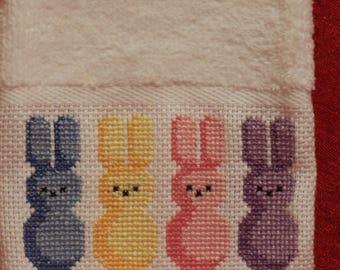 Cross Stitch Easter Fingertip Towel Peep Bunnies