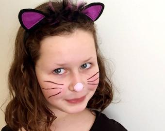 Black and Purple Glitter Cat Ears Headband