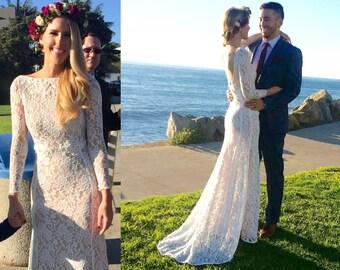 long sleeve lace wedding dress/bohemian wedding dress/long sleeve wedding dress/simple wedding dress/beach wedding dress/backless wedding
