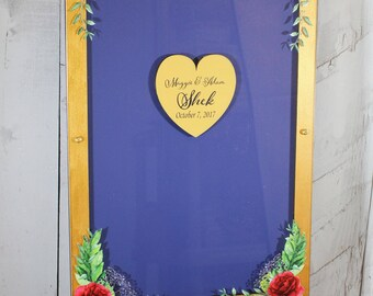 Wedding Guest Book/Top Drop/Alternative/Shadow Box/Drop Frame/Heart/Custom/U Choose Colors/Burgundy/Gold/Rose/Golden Straw