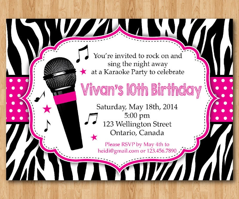 Karaoke party invitation girl karaoka birthday rockstar party zoom stopboris Choice Image