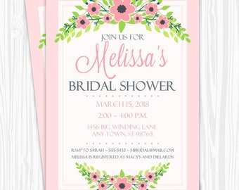 Bridal Shower Invitation, Pink Floral Invitation, CUSTOM 4x6 or 5x7 size, printable, Wedding Shower Invite