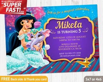 Princess Jasmine Invitation PRINTABLE, Aladdin Birthday Invitation, Princess  Jasmine Invite, Princess Jasmine Party