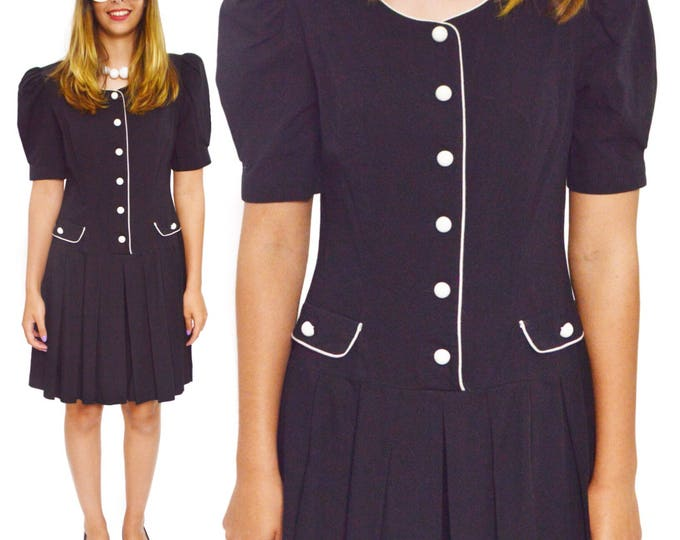 Vintage 80s Lindsey Scott Half Shirt Pleated Skirt Secretary Dress