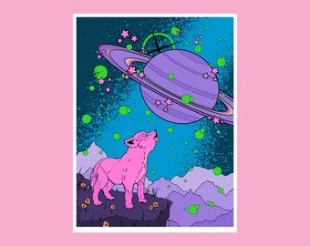 9x12 Space Wolf Pup Art Giclee Print - Secret Admirer Cover Art from Issue #0