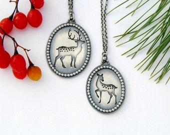 Fawn necklace - handmade sterling silver deer necklace pendant