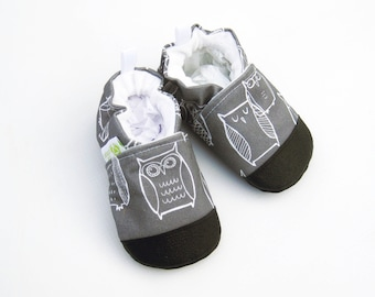 Eco-Canvas Vegan Owls in Gray / non-slip soft sole shoes / made to order / babies toddlers preschool