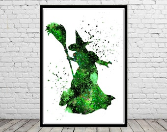 The Wizard of Oz inspired, Wicked Witch, Poster,Watercolor Print, Home Decor,Halloween, Kids Room Decor,  Poster (2554bb)