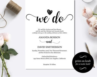 We Do Wedding Invitation Template Rustic Kraft We Do Wedding