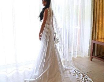 "Wedding veil with training mantilla. Cathedral veil 108"" length."