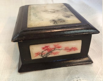 Chinese Wooden Trinket Box, Inlayed, Hand Painted Marble, C.1940's