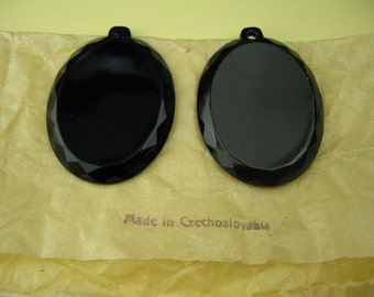 2 Vintage 1940's Czech Black Glass Pendants