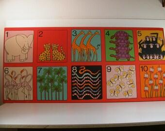 "Jan Pieńkowski for Finlandia C.L.O.T.H. ""Numbers"" , Original Vintage Graphic Linen from the 1980's, Colorful Graphics, Jan Pienkowski"