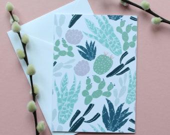 Cacti card A6 blank Greeting card, succulent, EllARTshop