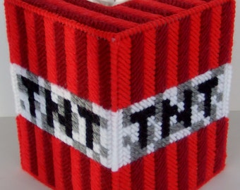 Creative Art on Plastic Canvas - MINECRAFT TNT - Video Game Craze - Boutique Size Tissue Box Cover - Needlepoint on Plastic Canvas