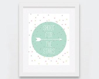 Shoot for the Stars Art Print, Stars Baby Room Decor, Modern Nursery Wall Art, Mint Confetti Print, Printable Nursery Art 5 x 7 and 8 x 10