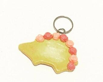 Pink Roses Hedge Hog Cookie Key Charm