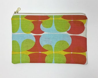 Hand Printed Zip Pouch- Abstract