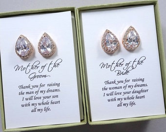 Rose Gold Crystal Stud Earrings, Mother of the Bride Gift Earrings, Mother of the Groom Gift Earrings, Pear Crystal Stud Earrings