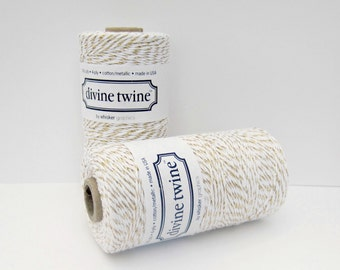 Gold Metallic Divine Twine, Metallic Twine, Gold Twine, Bulk Spool, 240 yards, gold and white, Gold Cotton String, Gold Bakers Twine