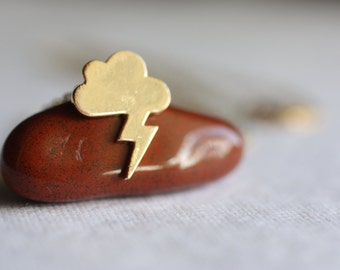 Gold Thunder Cloud Necklace, Angry Cloud Necklace, Gold Lightning Bolt Cloud Necklace, Gold Storm Cloud Necklace, HoneyBeeCharmed
