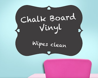 Chalkboard Decal Curvy Frame Hearts: Kids Playroom Decal, Kitchen Chalkboard Decal, Blackboard, Chalk board, Boys, Girls, Teens, Toddler